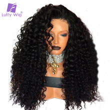 Luffy 180 Density Brazilian Non Remy Hair 13 6 Curly Lace Front Human Hair Wigs For