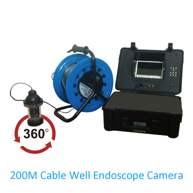 1 Set Underwater Endoscope Camera 200M Cable Fishing Camera 360 degree Industrial inspection infrared LED Well Pipe system use