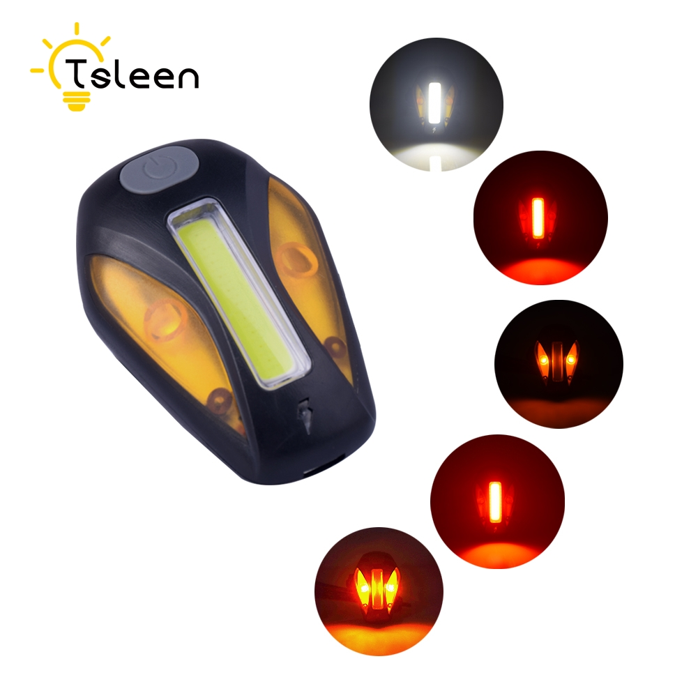 TSLEEN 120 Lumens COB Rechargeable USB Bicycle Tail Lamp Bike Rear Front Safety Light 500mAh Bicycle Emergency Warning Tail Lamp cateye tl ld710 r bicycle rear light mtb bike usb rechargeable taillight cycling warning rainproof tail lamp bike accessories