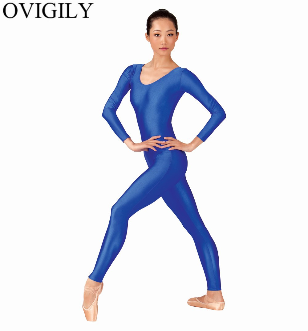 OVIGILY Womens Spandex Lycra Gymnastics Unitard Adults Royal Blue Long Sleeve Full Body Suits Exercise Unitards Scoop Neckline