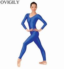 Ovigily إمرأة دنة ليكرا الجمباز unitard الكبار الملكي الأزرق طويلة الأكمام كامل الجسم الدعاوى ممارسة unitards مغرفة العنق