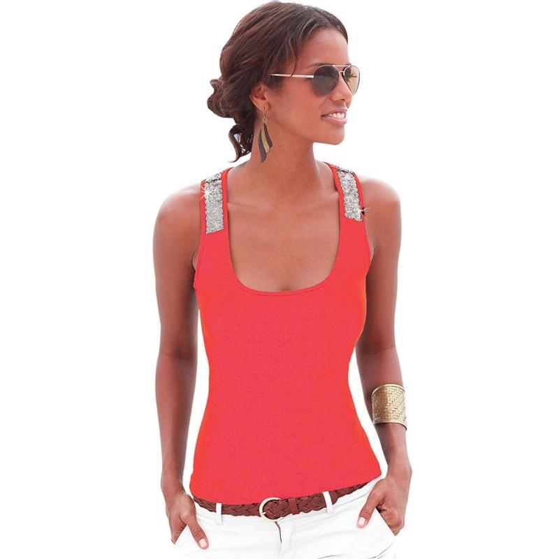 Summer Women Vest   Tops   Sleeveless Summer Crop   Top   Casual Sequin Stitching   Tank     Tops