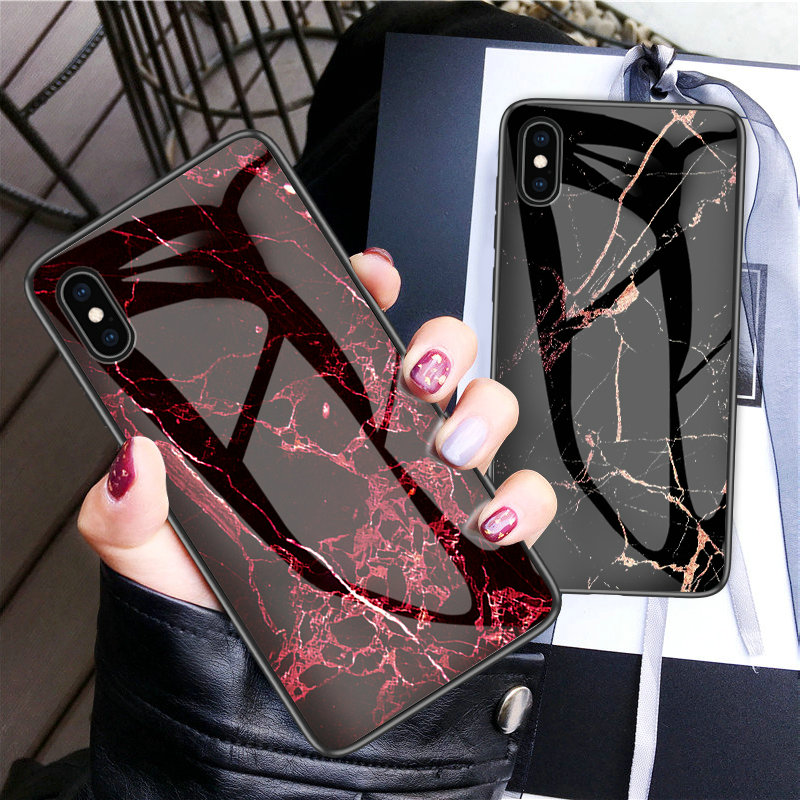 30pcs lot For iPhone XS Max XR XS Soft Side Marble Grain Tempered Glass Hard Back