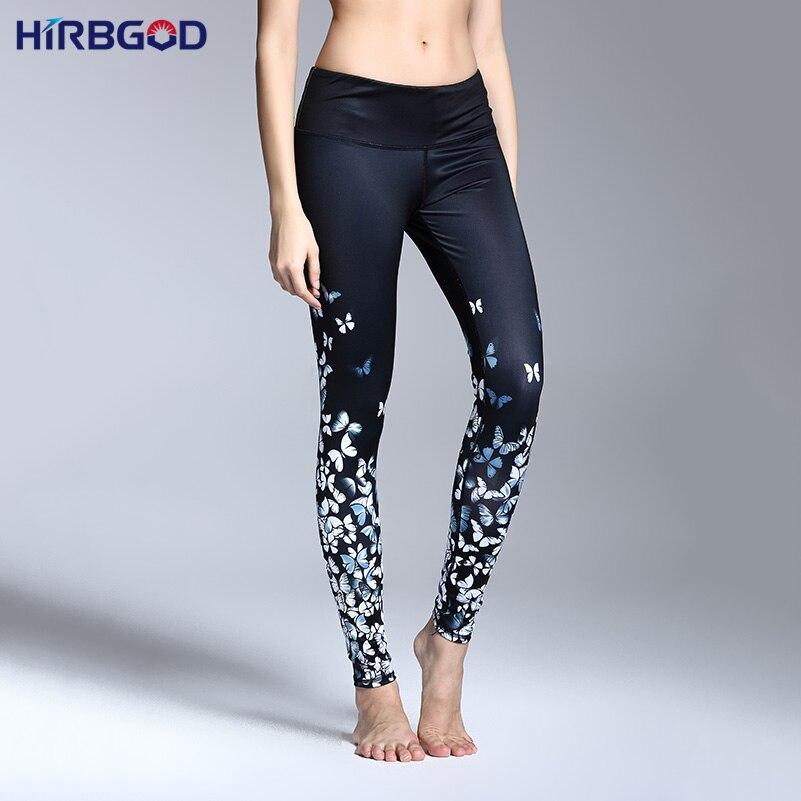 Prix pour HIRBGOD Papillon Imprimé Sport Yoga Pantalon Femmes de Haute Taille Sexy Fitness Gym Courir Compression Formation Leggings Serré, HT032