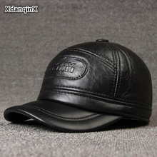 XdanqinX Mens Genuine Leather Cap Autumn Winter Warm Baseball Caps With Earmuffs Cowhide Hat For Middle-aged Men