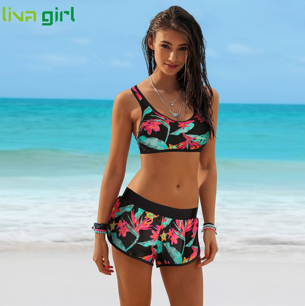 Liva Girl Bikinis Set Sexy Girls Push-Up Two Pieces Print Sport Swimsuit Swimming Summer Monokini Set Beach Wear Bathing Suit 09