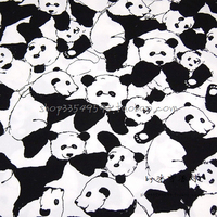 140*50 centímetros 1 pc preto/branco tecido de algodão tecido telas patchwork panda panda impressão tecido de algodão de costura material diy roupas de bebê