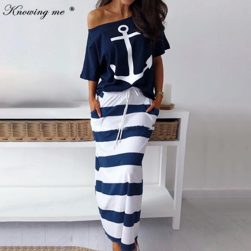 Knowing Me  Women Sexy Off Shoulder Two Piece Set Dress Hope Boat Anchor Print Top T-shirt & Striped Ankle-length Dresses