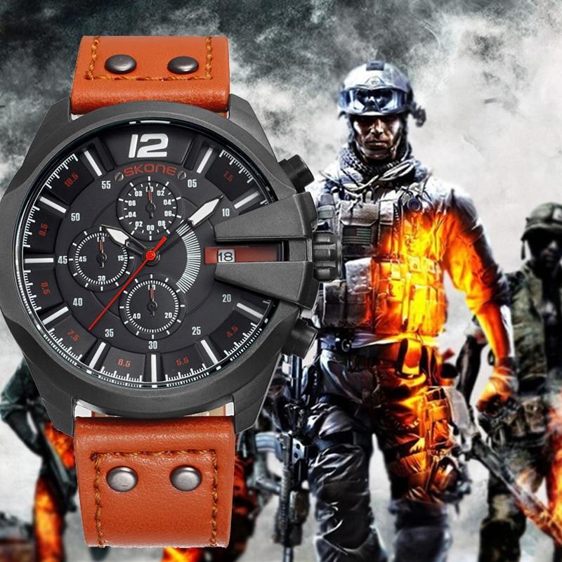 SKONE Men's Watch Chronograph Stopwatch Sport Quartz Watch Man Military Leather Wrist Watches Luxury Male Clock reloj hombre