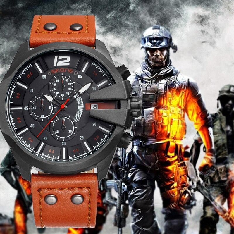 SKONE Orologio uomo Cronografo Sport Cronometro Al Quarzo-orologio Uomo Militare Orologi Da Polso In Pelle di Lusso Maschio Orologio reloj hombre