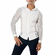 Fashion Embroidery Lace Shirt Men 2018 Brand New Sexy See Through Mens Casual Button Dress Shirts Club Party Event Wedding Shirt(China)