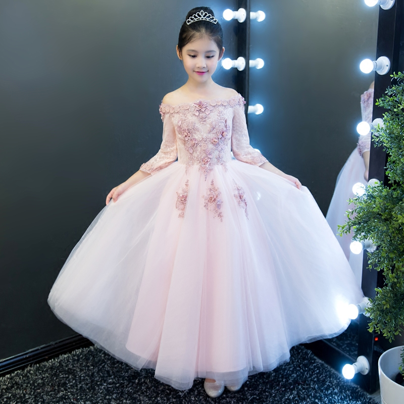 New Autumn Hot-sales Children Girls Luxury Wedding Birthday Party Long Dress Kids Babies Flowers Half Sleeves Princess Dress green crew neck roll half sleeves mini dress