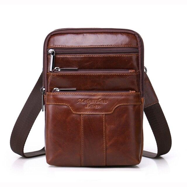 1c27fbfe1 MEIGARDASS bolsos de mensajero de cuero genuino para hombres bolso de  hombro hombre viaje pecho Pack