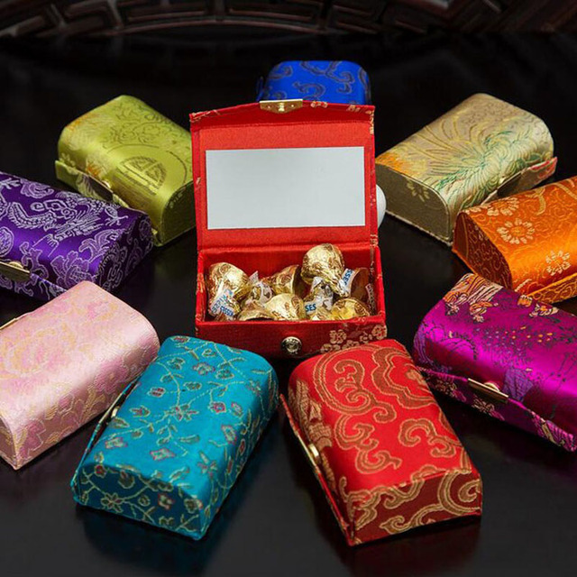 60pcslot Chinese Traditional Brocade Jewelry Box With Mirror