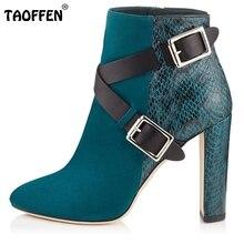 Femmes De Mode Carré Talon Cheville Bottes Femme Bout Pointu Boucle sangle Chaussures Mixte Couleur Zipper Talons Chaussures Femme Taille 35-46 B296