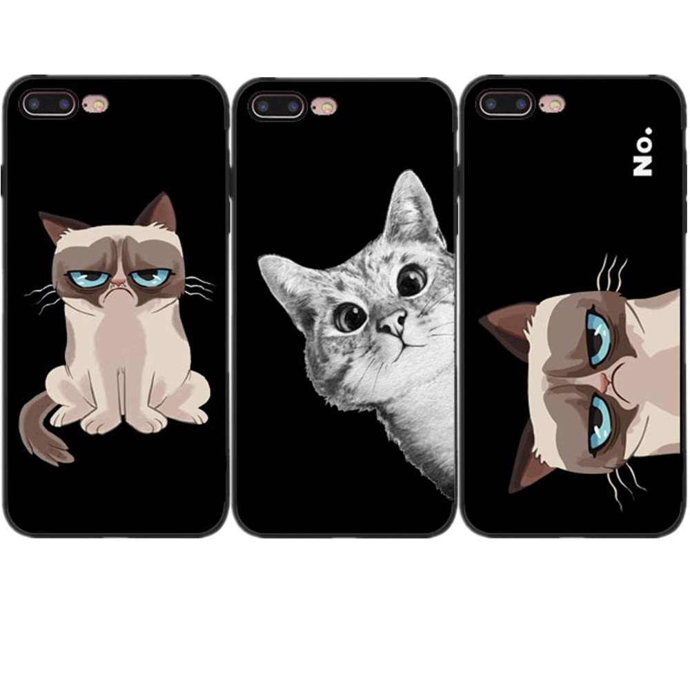 Cute cartoon Angry cat bulldog Dog Soft Case For iPhone X 10 6 6S Plus 7 7Plus 8 8 Plus 5 5S SE Black silicone Phone Case Cover