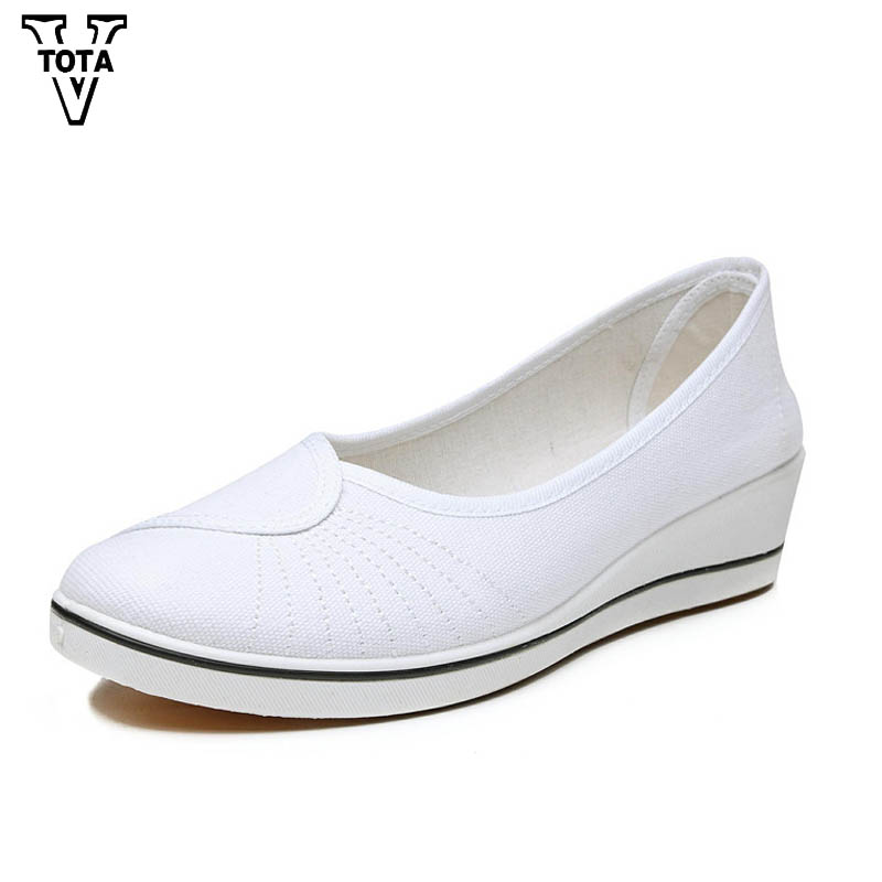 VTOTA Fashion Spring Autumn Platform Shoes Woman Canvas Women Shoes Med Heels Casual Shoes Slip-on Black White Ladies Shoes N182 free shipping 2016 spring autumn new increased internal woman shoes elastic band med heels pumps black red white woman shoes