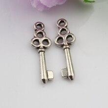 90 Pcs Cute Tibetan Silver Key 21mm Charm Pendant 6.5mmx21.5mm (1553)