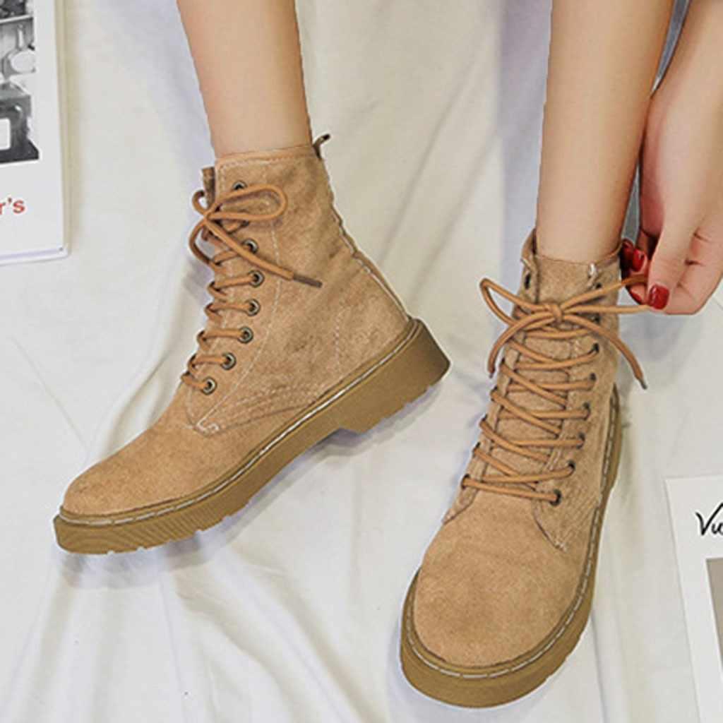 ฤดูใบไม้ร่วง 2019 ขายร้อนผู้หญิง Flock รองเท้าแฟชั่น Lace Up Marten เย็บ Boot Soft Elegant ฤดูหนาวรองเท้านุ่มรองเท้าสำหรับสตรี