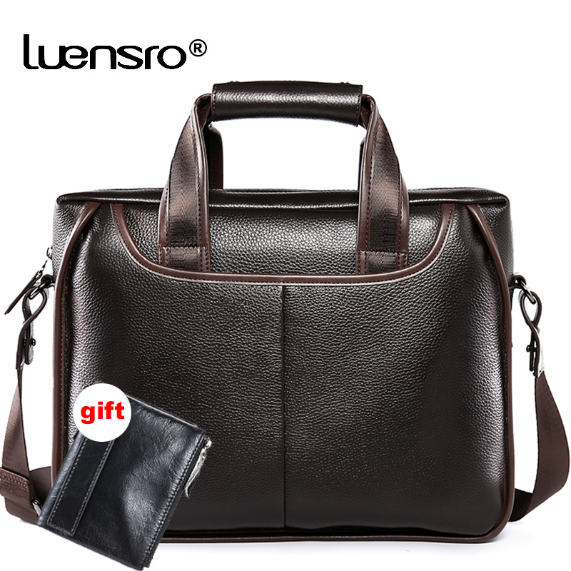 Men Business Briefcase Leather Genuine Large Capacity Laptop office Leather Bags for Men Vintage Messenger Bags