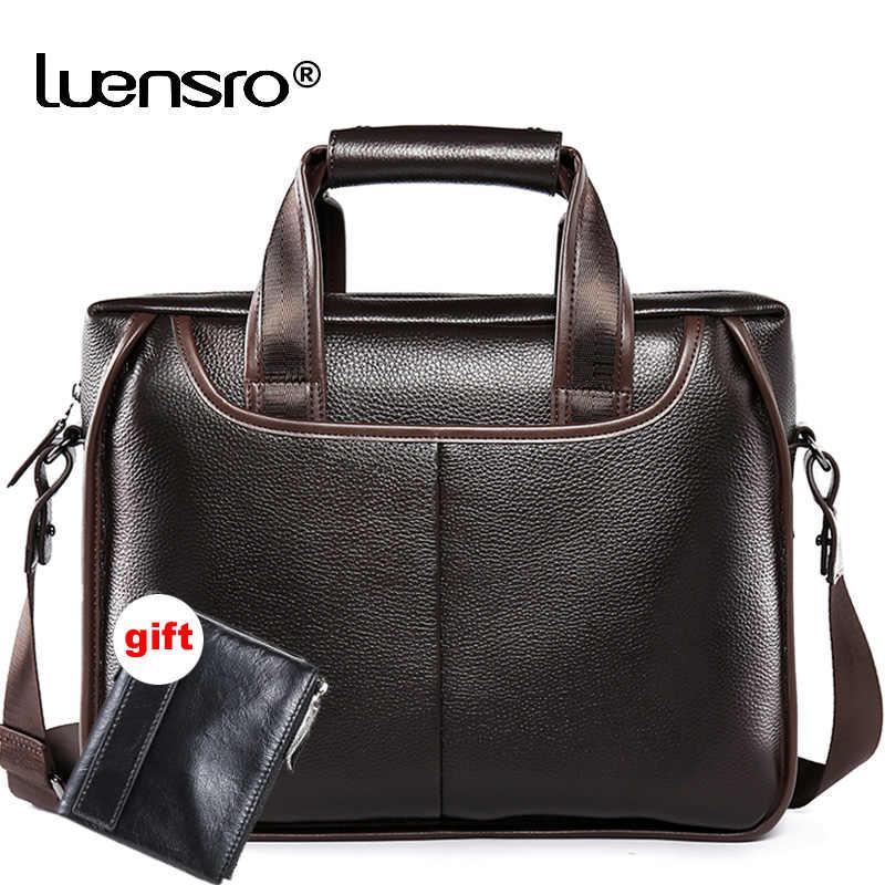 e5a83048f880 Для мужчин бизнес портфели из натуральной кожи большой ёмкость ноутбука  офисные кожаные сумки для Винтаж Курьерская
