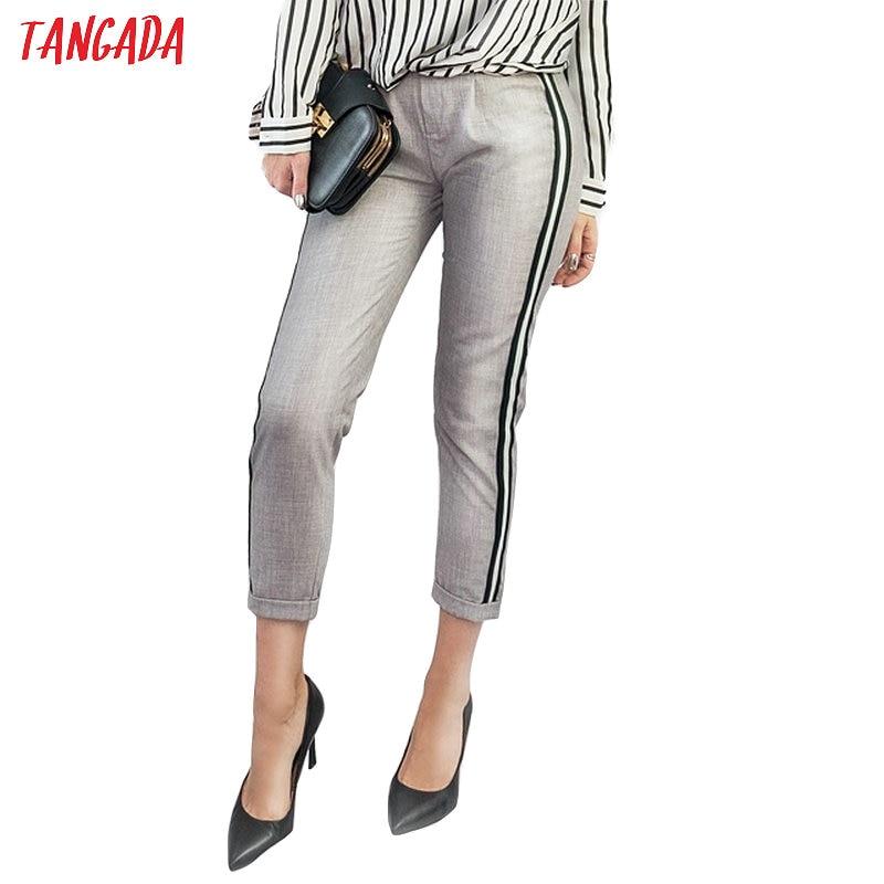 Tangada Women Elegant Side Stripe Black Pants Elastic Waist Ladies Autumn Casual Green Gray Korean Fashion Trousers Mujer HY81