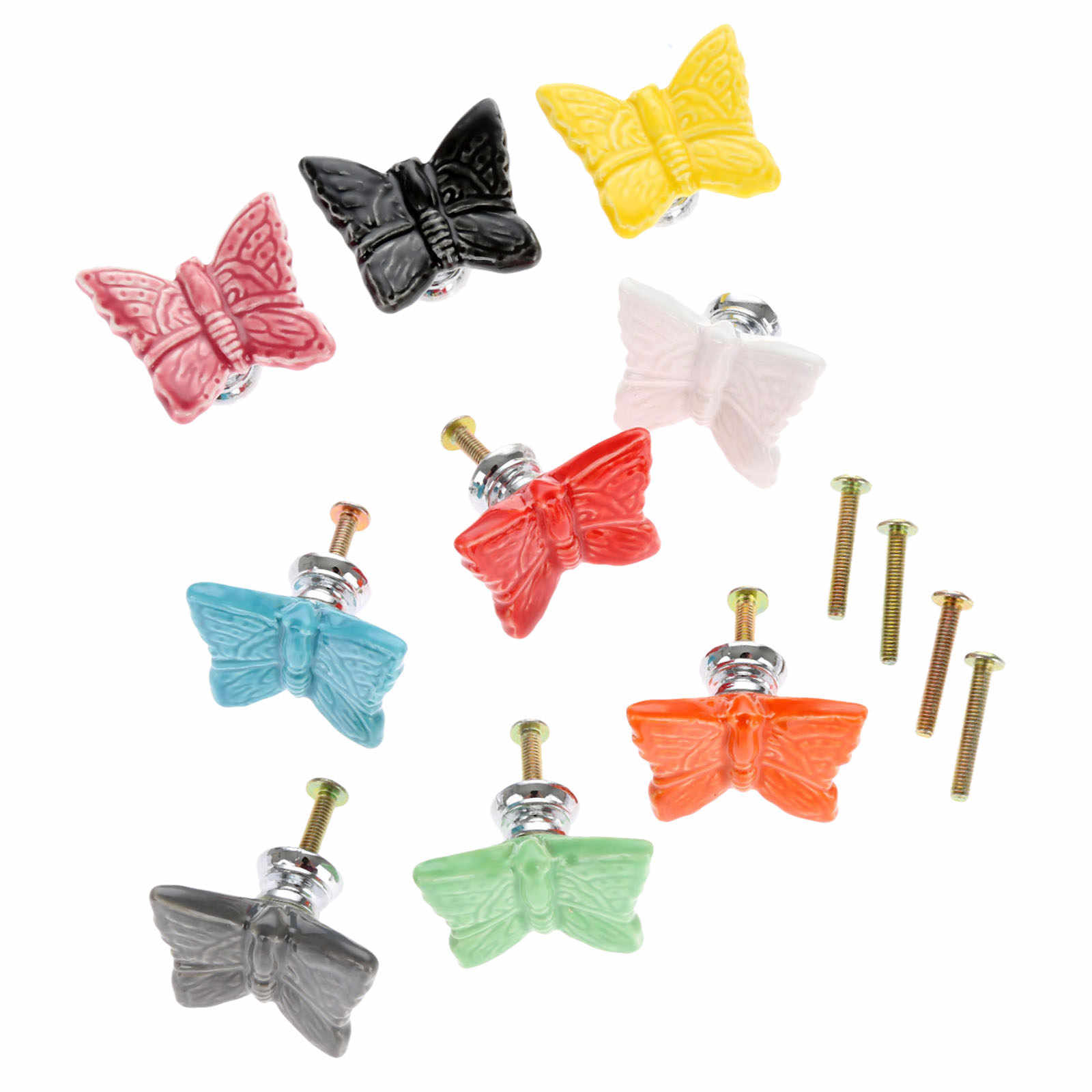 9pcs Furniture Handles Vintage Butterfly Cabinet Knobs And Handles