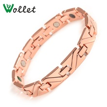 Wollet Jewelry 316L Stainless Steel Magnetic Bracelet for Men Bio Magnet Rose Gold Color 5 in 1 Health Care Healing Energy все цены