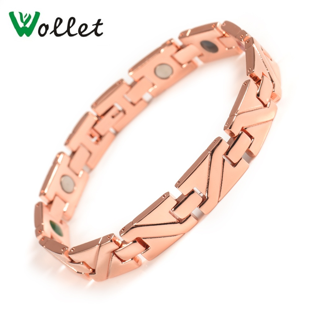 Wollet Jewelry 316L Stainless Steel Magnetic Bracelet for Men Bio Magnet Rose Gold Color 5 in 1 Health Care Healing Energy