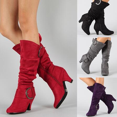 66c44e6011c9 YMECHIC Stretch Flock Mid Calf Tall Buckle Strap Western Women Cowboy Boots  2018 Fashion Red Black Purple Med Heel Ladies Shoes