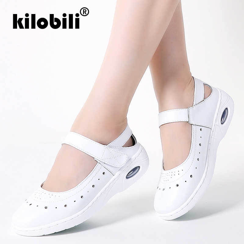 bb002dea164 kilobili 2019 Summer Women Genuine Leather Loafers Casual Ballet Flats  White Hollow Shoes Ladies Slip On