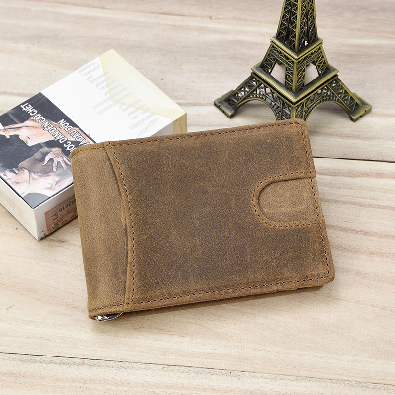 Luufan Leather Money Clip Wallet 100% Genuine Leather Men Bifold Wallets For Credit ID Card Cash Clip Purse Portable New Fashion