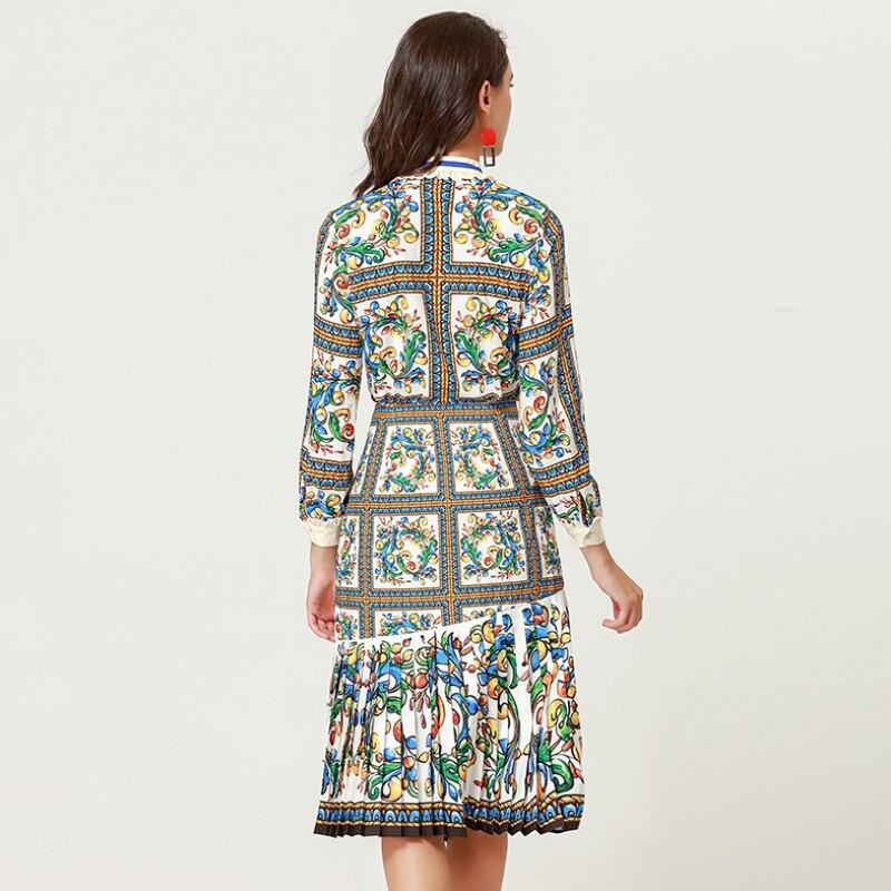 Automne Imprimé Floral Shirt Deux 2018 Jupe Conception Coloré Pièces Ensemble Haute Qualité Tops Multi 2 Femmes xRFwnEw0