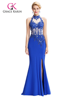 Gace Karin Lange Formale Abendkleider Meerjungfrau Spitze Kleid Eleganter Halter High-Split Perlen Appliques Prom Party Kleider