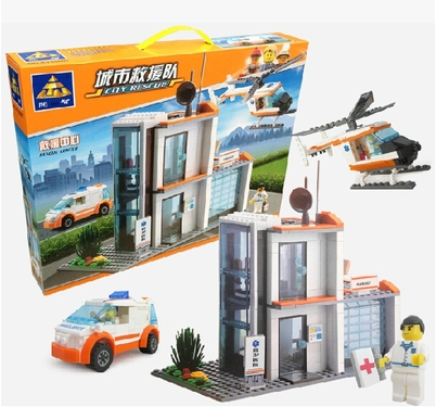 ФОТО New Original Kazi City Rescue Center Building Blocks 450pcs/set Rescue Hospital Model Bricks Toys Compatible with Lepin 85007