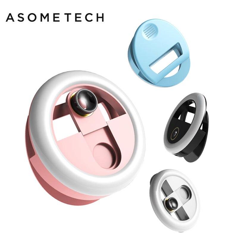 Super teléfono móvil Selfie anillo lente gran angular belleza luz lámpara de relleno fotografía Macro Shot Cámara recargable LED Selfie anillo