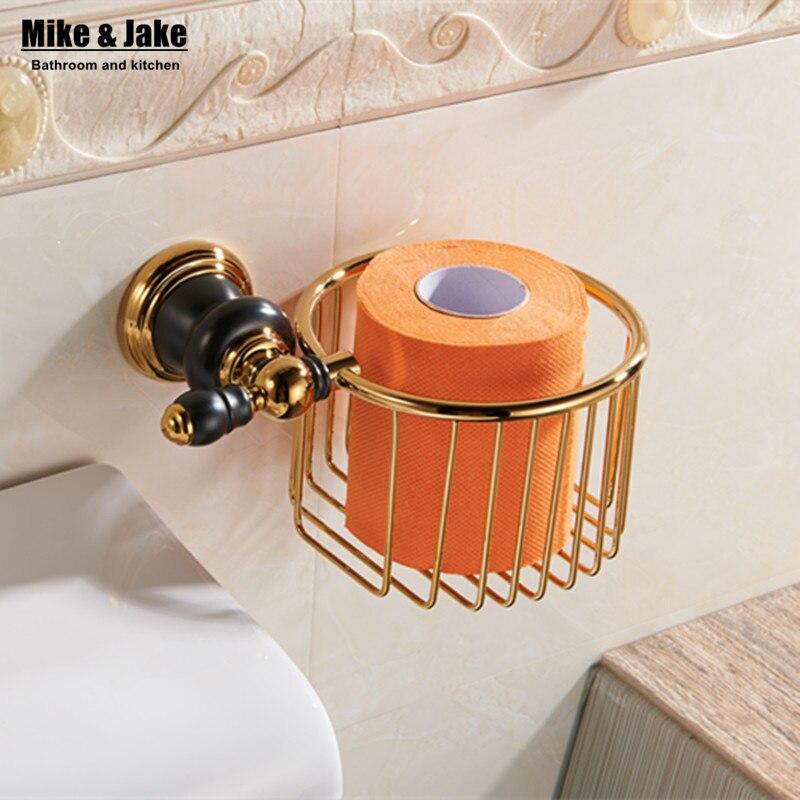 где купить  Bathroom golden finish paper basket holder bathroom shelf for toilet paper bathroom wall paper hangs toilet paper holder  по лучшей цене