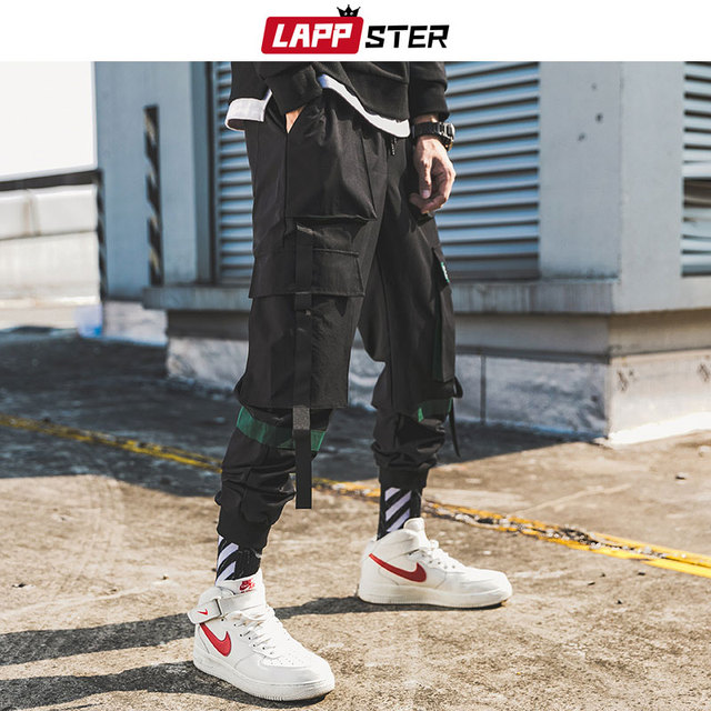 LAPPSTER Men Ribbons Streetwear Cargo Pants 2020 Autumn Hip Hop Joggers Pants Overalls Black Fashions Baggy Pockets Trousers 40