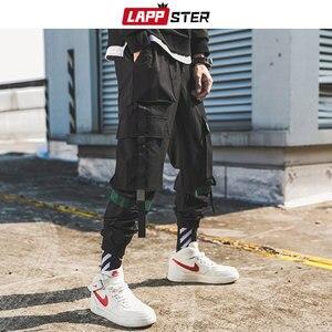 Image 2 - LAPPSTER גברים סרטי מטען Streetwear מכנסיים 2020 סתיו היפ הופ רצים מכנסיים סרבל שחור אופנת בבאגי כיסי מכנסיים