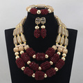 Fantastic Wine African Beads Jewelry Set Burgundy Wine Wedding Statement Necklace Set Dubai Bridal Beads Set Free Shipping WD597
