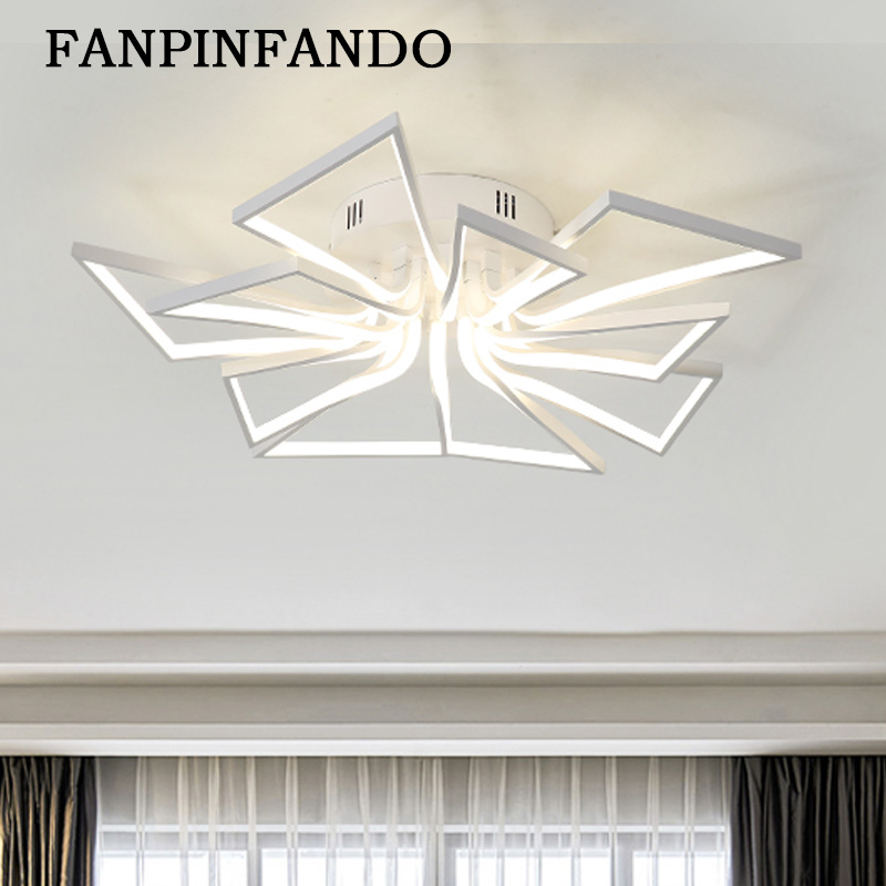 Ceiling Lights Led Lamp Re Remote Control Dimming Lighting Fixture Living Room Bedroom Dining Brown White