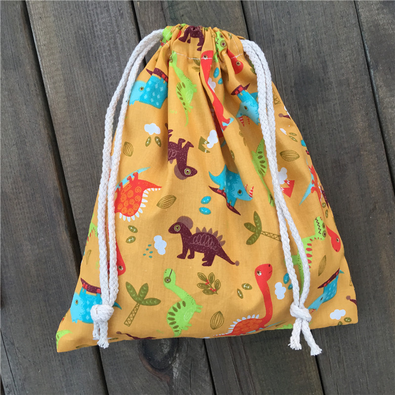 YILE 1pc Cotton Drawstring Pouch Party Gift Bag Home Bag Print Color Dinosaur Light Blue YL03