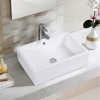 20 Bathroom Rectangle Ceramic Vessel Sink Art Basin Wash Counterttop Sinks Modern White Shampoo Sink Without Faucet BA7143