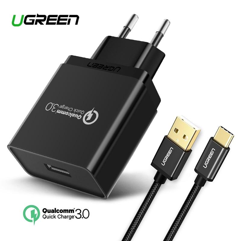 Ugreen USB cargador 18 W de carga rápida 3,0 cargador de teléfono móvil para iPhone rápido QC 3,0 cargador para Samsung Huawei galaxy S9 + S8 +