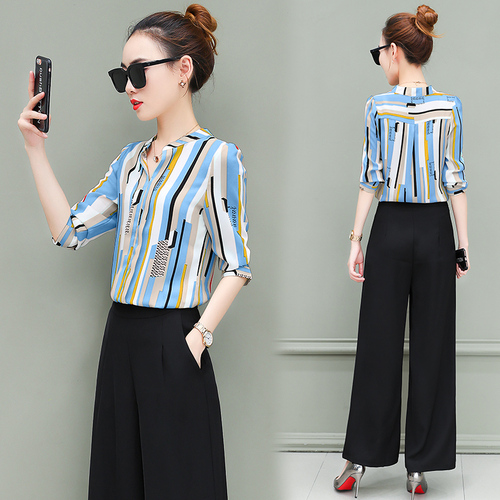 New OL suits 2018 summer Korean fashion stripe chiffon blouse top & wide-legged pants two pcs clothing set lady outfit S-4XL 1