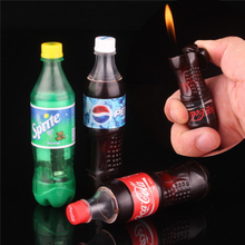 Novelty Mini Smokers Gift Creative Gas Inflatable Flame Cigarette Lighter Butane Cola Sprite Drink Bottle Model No Gas цена