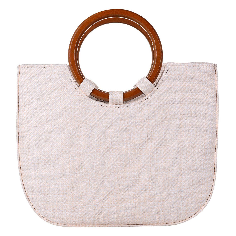 Womens Summer Beach Straw Handbag Casual Satchel Straw Bag Top Handle Tote Shoulder Handbag(Beige)Womens Summer Beach Straw Handbag Casual Satchel Straw Bag Top Handle Tote Shoulder Handbag(Beige)