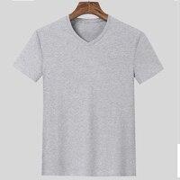 Top T-shirts Men Solid Casual Broadcloth Cotton T Shirt V-neck Plus Size Short Sleeve 7xl 8xl 9xl 10xl 11xl 12xl Men T-Shirts