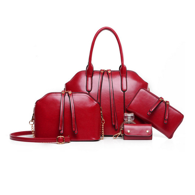 New Arrival Handbag+Messenger Bag+Purse+Wallet 4 sets Wax oiled Split leather Bag and PU  Women Handbag Shoulder Crossbody Bag