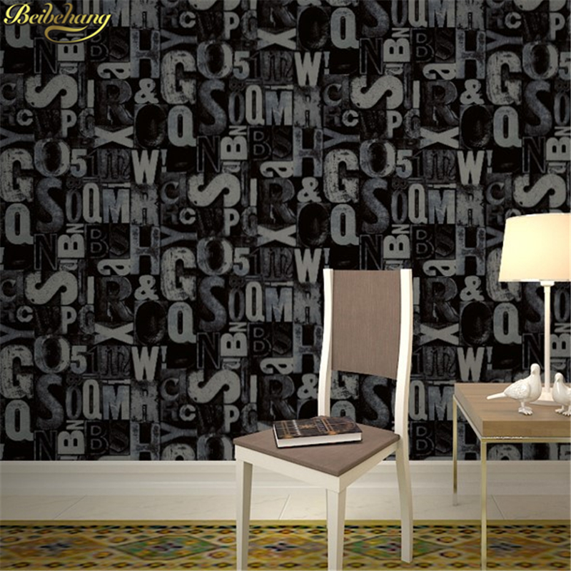 beibehang papel de parede 3D Vintage English letter wallpaper for walls 3 d wall papers home decor living room Home Decoration cartoon black cat cute diy vinyl wall stickers for kids rooms home decor art decals 3d wallpaper decoration adesivo de parede
